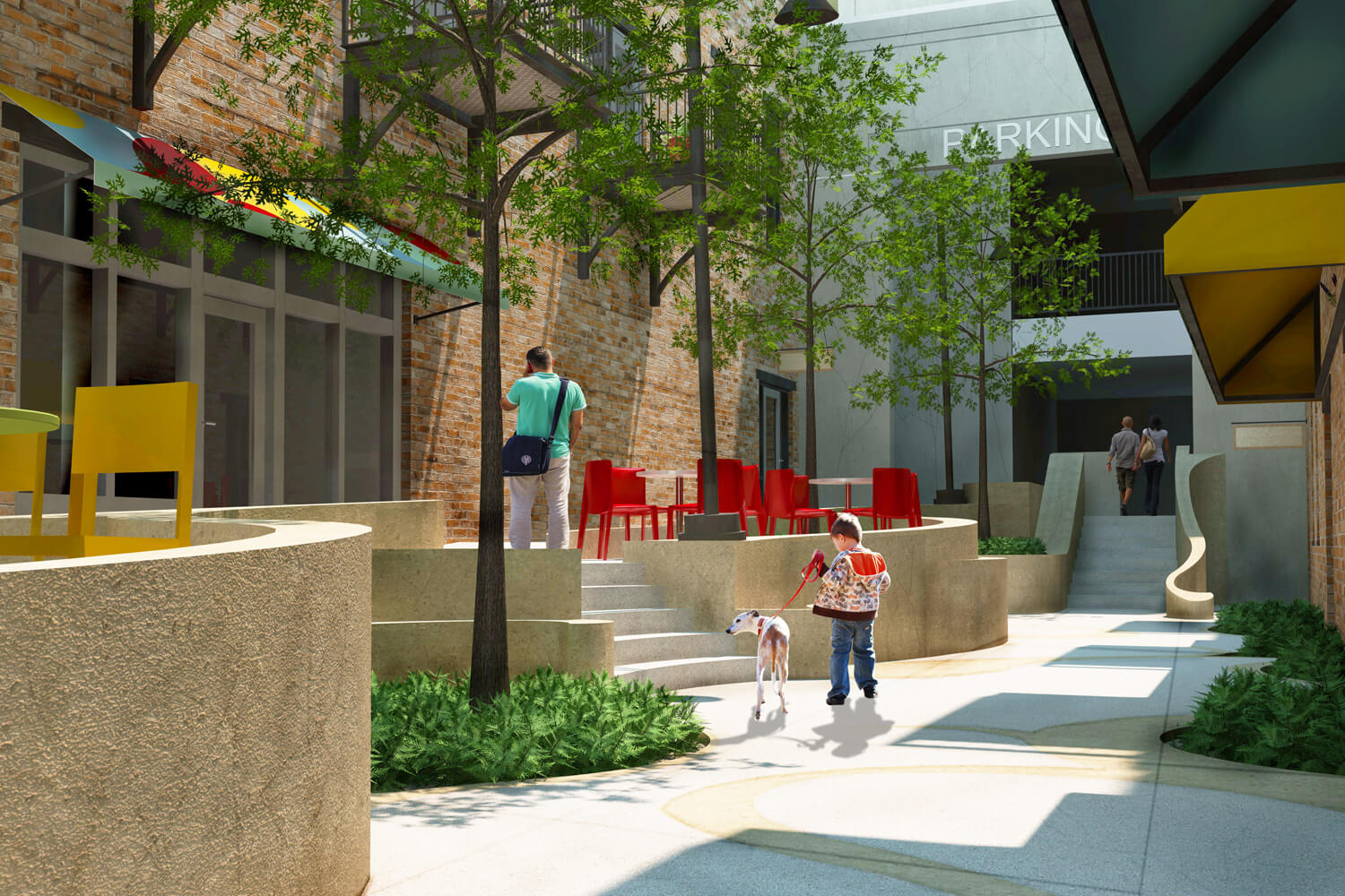 Dexter Alley Park Designed by Foshee Architecture - Exterior View at Center Steps