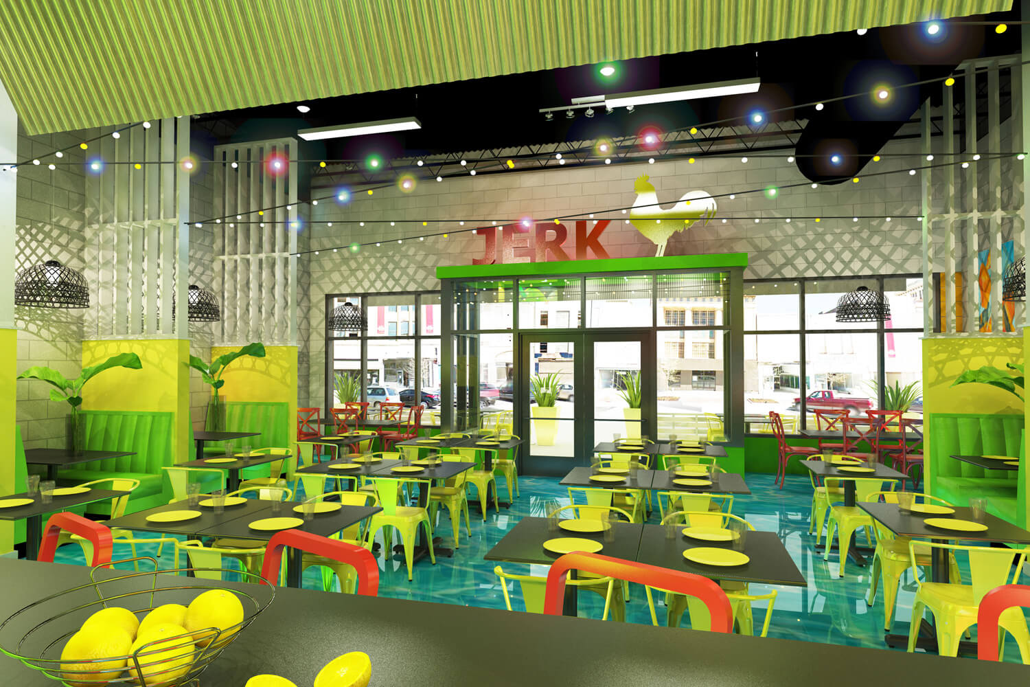 Island Delight Restaurant Designed by Foshee Architecture - Artist Depiction and Rendering of Interior of Seating Area