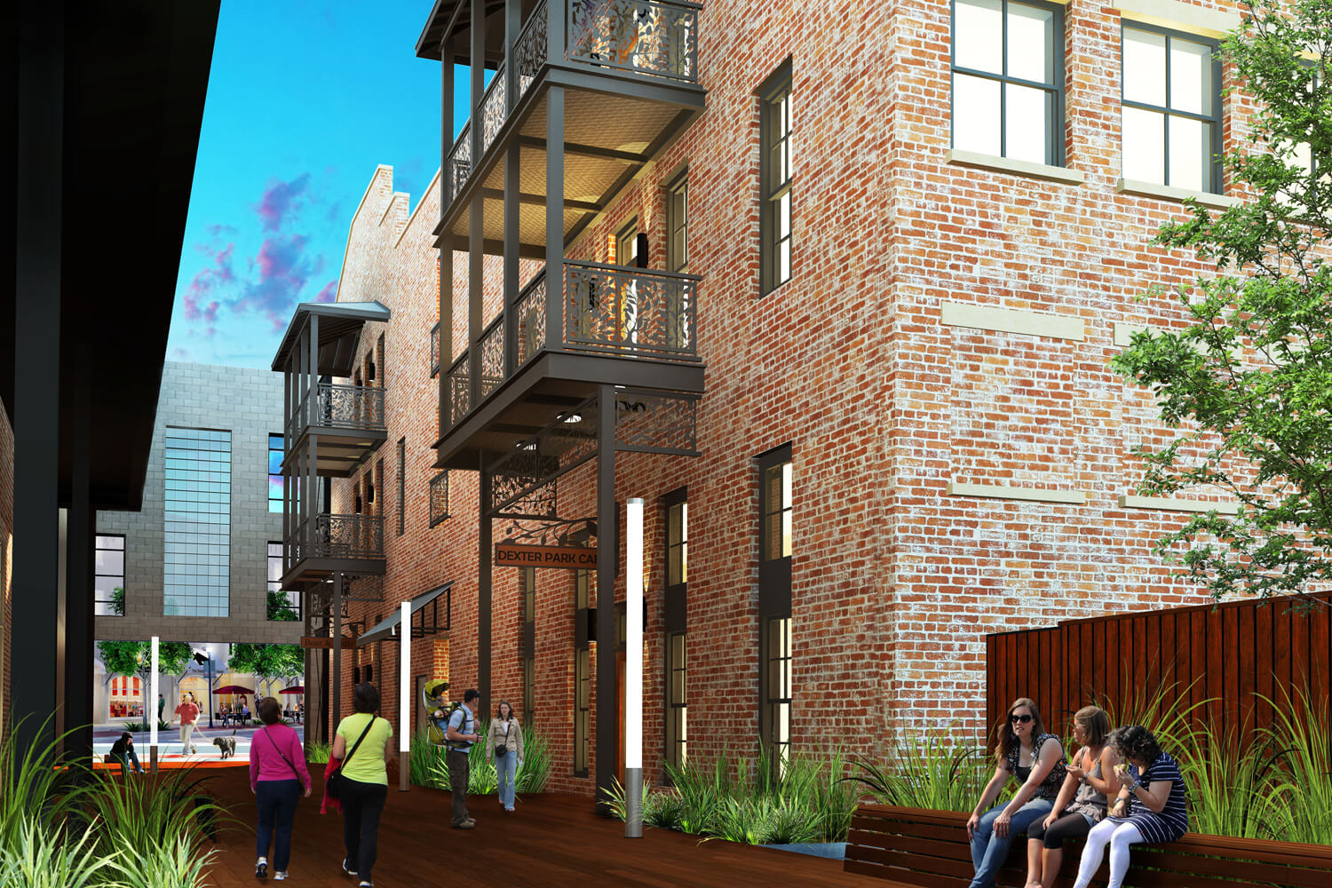 Ruth and Sons Designed by Foshee Architecture - Artist Depiction and Rendering of Exterior Alley Park
