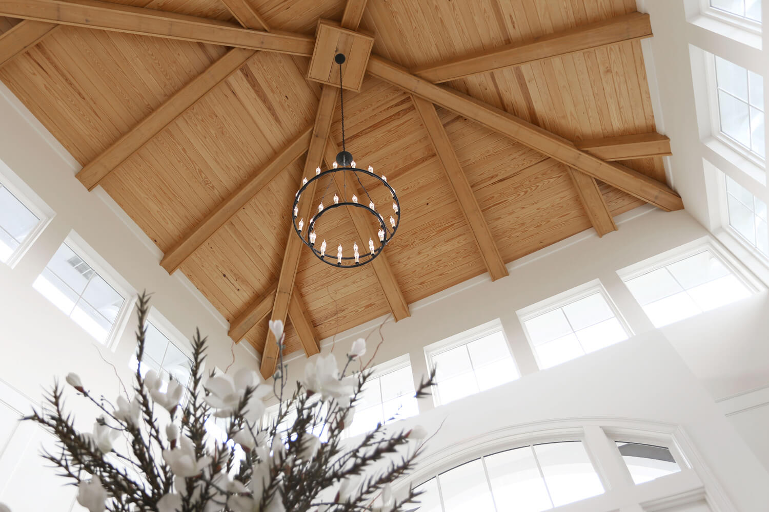The Morgan Apartments Clubhouse Designed by Foshee Architecture - Interior view of the Wood Tower Ceiling